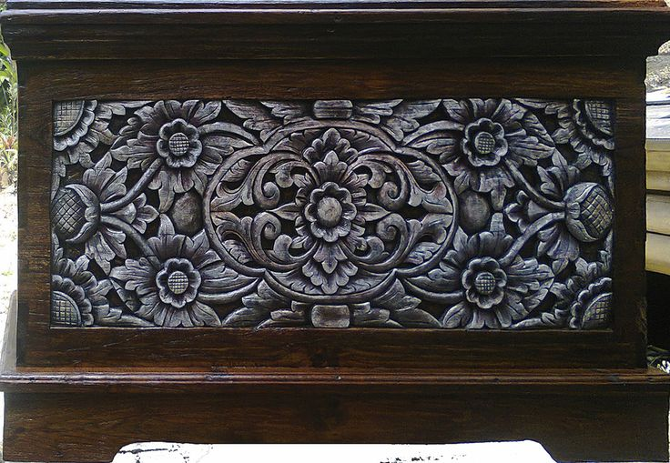 Yucca Rose-Indonesian Wood Chest - An original Indonesian wooden chest with hand-carved front panel from our carpentry shop - completely restored and rebuilt with the new carved front panel based on an authentic Indonesian design and then painted and brushed.