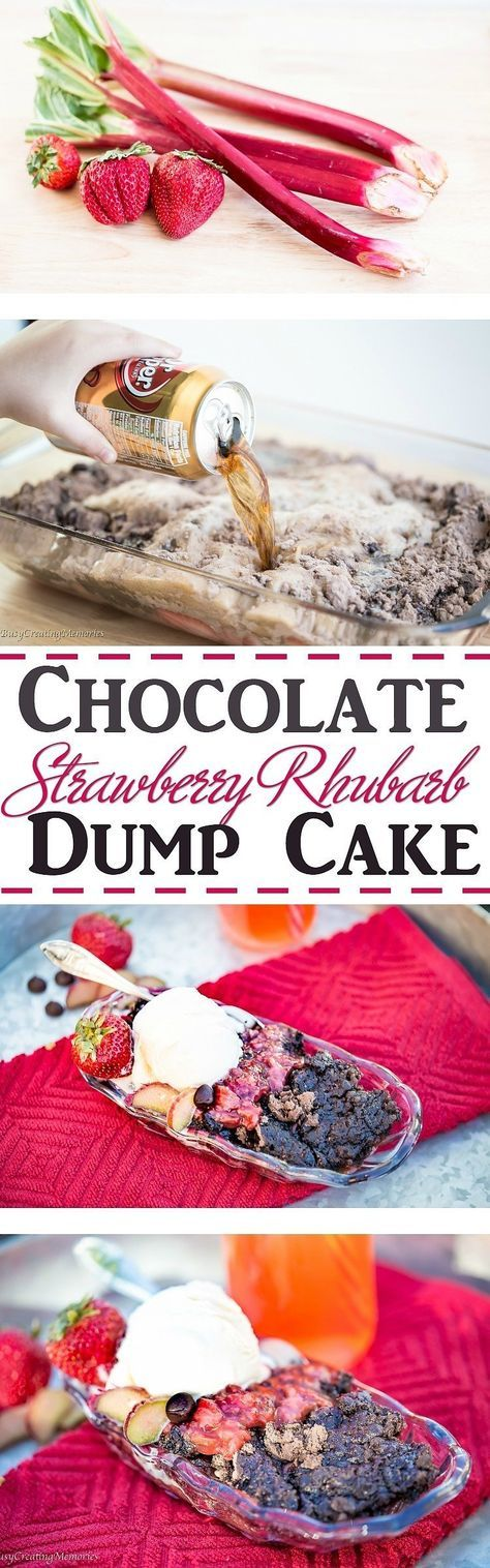 What can be better than Strawberry Rhubarb combo? Add Chocolate! That's RIGHT! I SAID CHOCOLATE! Try this mouthwatering Chocolate Strawberry Rhubarb Dump Cake recipe for the perfect easy summer dessert! via @2creatememories
