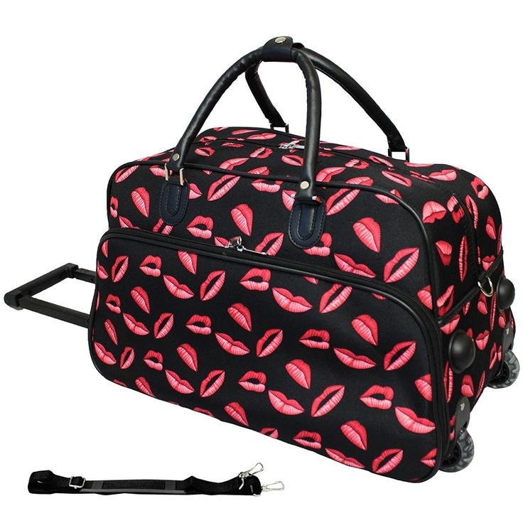 Red Black Girls Kiss Themed Carry Rolling Upright Duffle Bag Kisses Pattern Duffel Novelty Graphic Design Travel Duffel Bag Wheeling Luggage