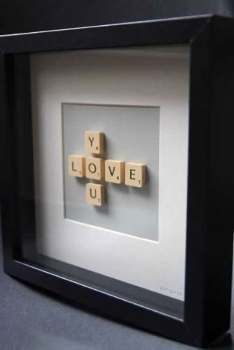 Framed Scrabble letters, or Scrabble letters set up on (or glued to - buy one inexpensively at a thrift shop) a game board would make nice decor for a party for a teacher, journalist, game-lover, and others. Cute for a bridal shower, too!