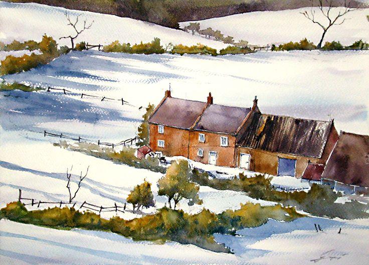 Winter landscape, based on D.Curtis painitng.Watercolour / Zimowy krajobraz, na podstawie obrazu D.Curtisa. Akwarela pokazowa wykonana na zajęciach w szkole rysunku DOMIN Poznań.