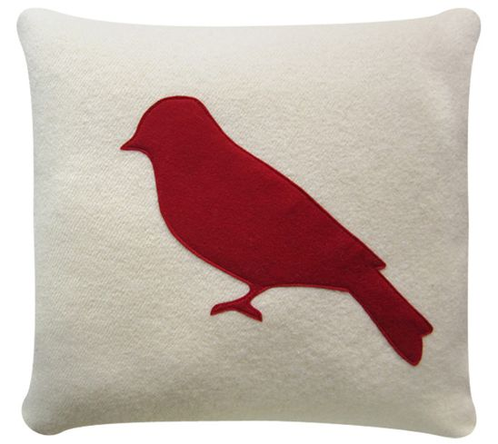 Pretty red bird on a white wool cushion cover. NZ made.