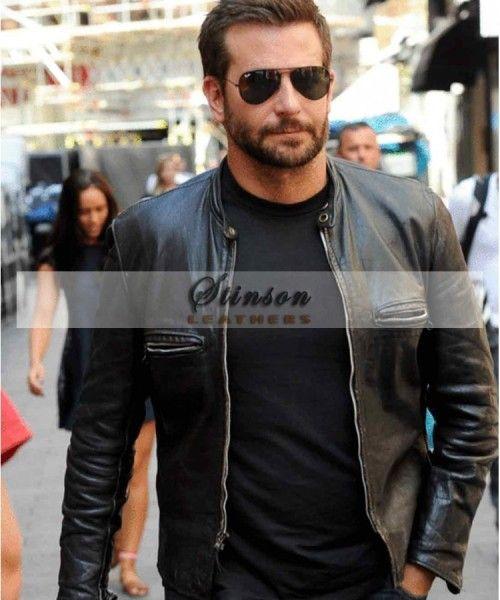 Bradley Cooper Mens Black Leather Jacket