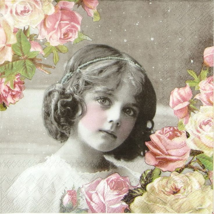 """4x Single Table Paper Napkins for Party Decoupage Craft """"Flower Girl"""""""