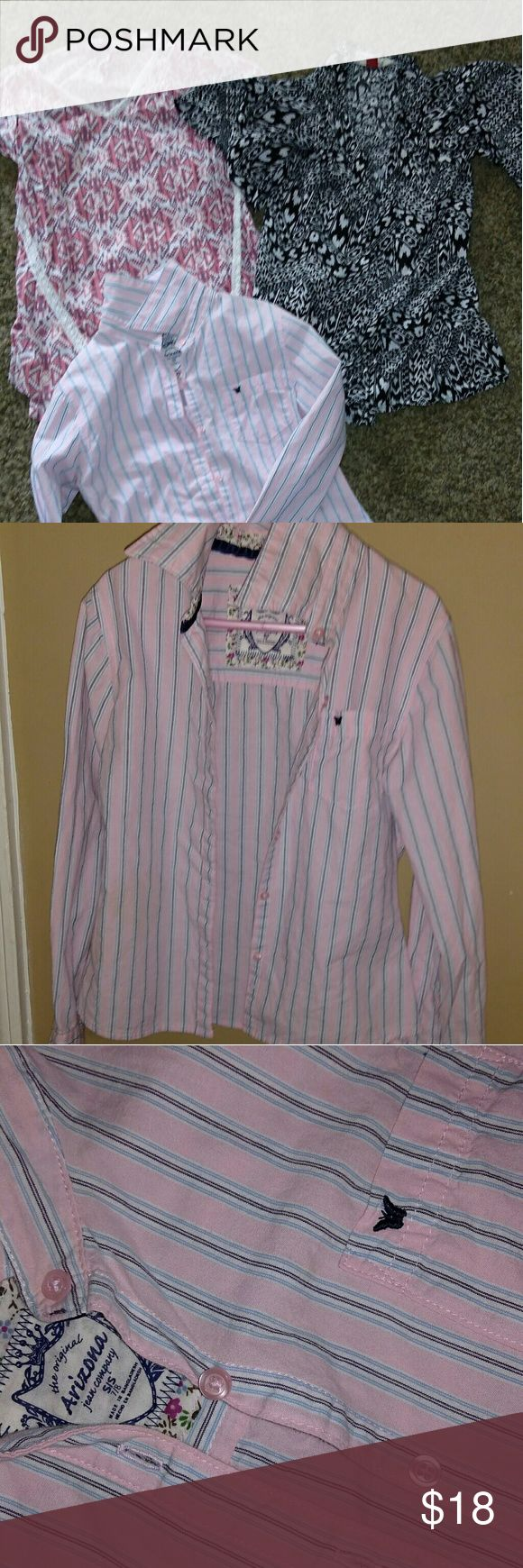Set of 3 Arizona - Red Camel tops. *Striped Button up- Pink & Navy- Arizona Sz Small (7-8) *Black & White short sleeve kimono like top. Open front does not zip or button. -Red Camel Sz Small (7-8) *Pink V neck with cream colored lace and purple Aztec print. Has a built in tank underneath. - Red Camel  Sz Medium. (My daughter wore this the same time as the other 2 items, it fits more like a small) Red Camel Shirts & Tops
