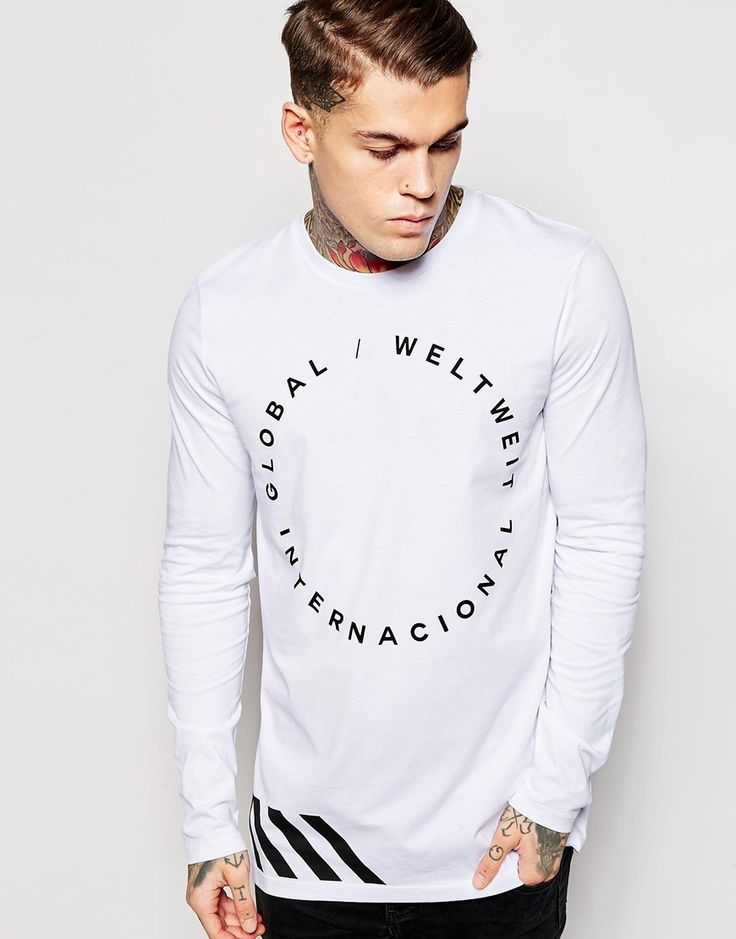 Image 1 of ASOS Longline Long Sleeve T-Shirt With Typographic Print
