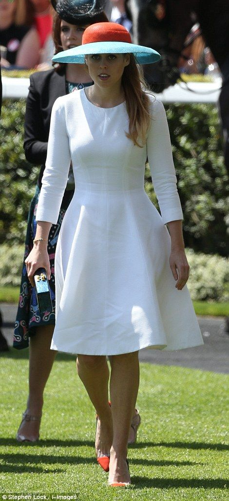 dailymail: Royal Ascot 2015, Day 3, June 18, 2015-Princess Beatrice in white with orange and mint touches, echoing her outfit on Day 1 of Ascot