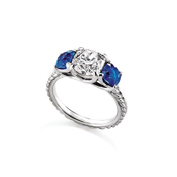 Three stone ring with diamonds and blue sapphires set in platinum, price upon request, David Yurman