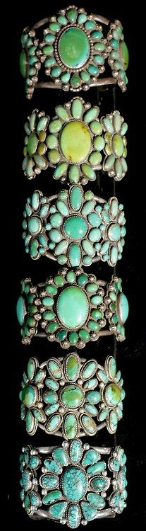 Turquoise cluster bracelets.