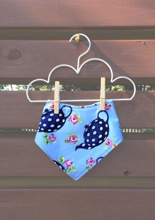 Blue teapot and floral printed Dribble Bandana Bib Girl Baby Girl