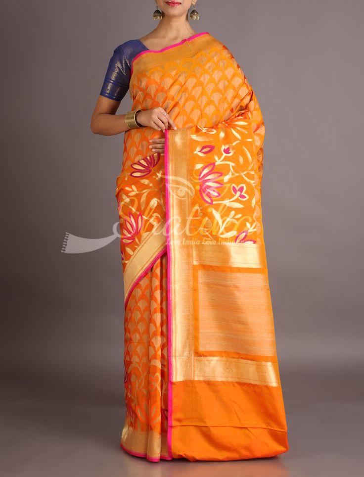 Chaitali Ocher Orange Fan Motifs Lotus On Pallu Banarasi Brocade Silk Saree