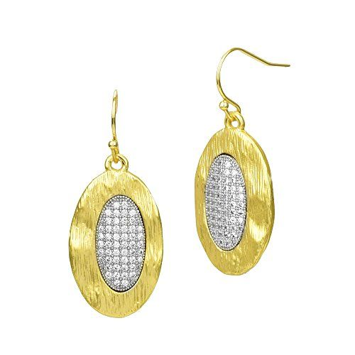 Matte Gold Brushed Oval with Micro Pave CZ Dangle Earring... https://www.amazon.com/dp/B01M00Z617/ref=cm_sw_r_pi_dp_x_w3M.xbBV4A0VK