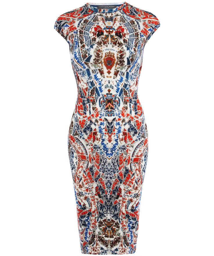 Alexander Mcqueen Porcelain Print Body Con Pencil Dress in Multicolor (porcelain)