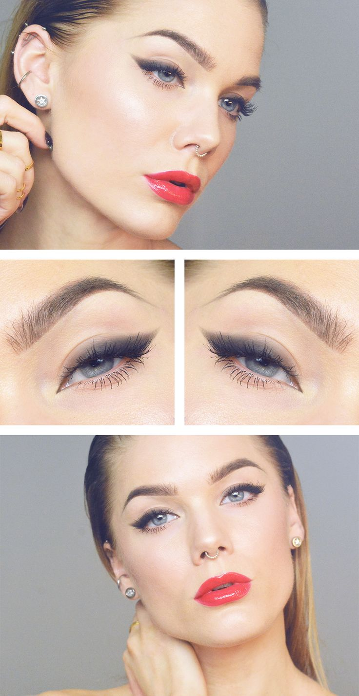 red lips + thick smokey winged liner | eye makeup