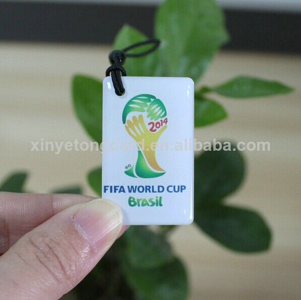 Custom Ultralight Touch Hang Tag For 2014 Wold Cup   Keywords:  1.Memory: 64bytes 2.Material: PVC 3.ISO/IEC 14443A 4.NFC Chip: MF Ultralight 5.Logo and number full color printable