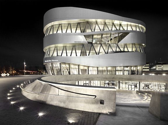 Mercedes-Benz Museum, UN Studio, Stuttgart, Germany (2001-2006):  Trajectories for the two collections (cars and trucks) spiral down from the top, intersecting each other on the way down.  Allowing visitors to cross over into the other.