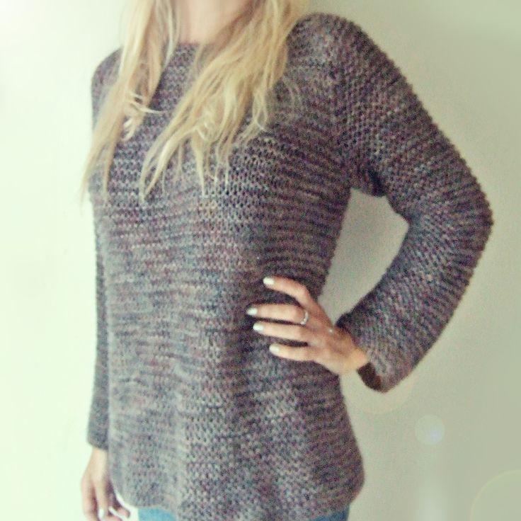 Maskedilla: purlstitch knitting sweater strikk strikkegenser alpaca wool silke ull rillestrikk purl skappel genser riller raglanfelling maskedilla strikkedilla katrine gratis oppskrift