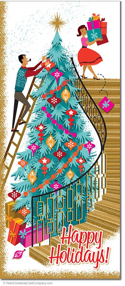 The Very Tall Christmas Tree Cards feature a high staircase next to the tallest tree ever in a Mid Century Modern House. The tree is being decorated for Christmas as bright, colorful gifts are being carried down the stairs to place under the tree. This cute couple is in high spirits!  8 cards & envelopes $13.00 | Folded Card Size 4.0″x 9.25″