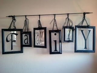 Vinyl letters on picture frame glass (picture frame backs removed) and hung on a curtain rod - cute!: Wall Art, Decor Ideas, Hanging Pictures, Curtain Rods, Curtains Rods, Picture Frames, Families Signs, Family Signs, Pictures Frames