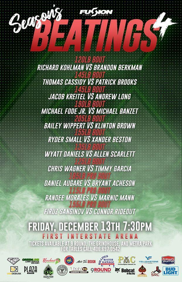 Live Combat Sport Schedule 12/11 12/16 Combat sport