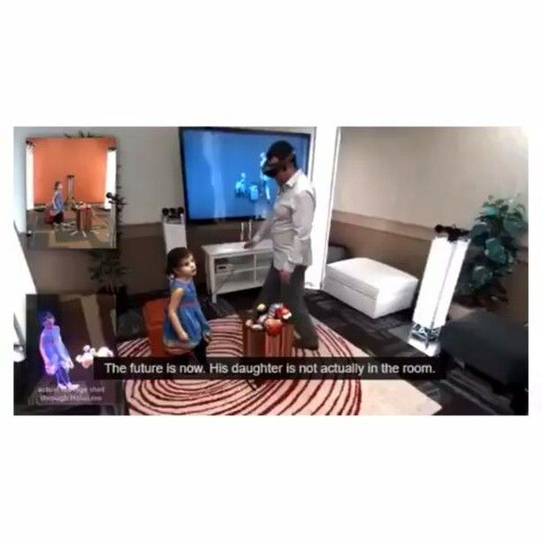 The future is now! 3D realistic holograms are now possible. The father and the daughter are in seperate rooms!  Tags: #future #futuristic #3D #hologra…