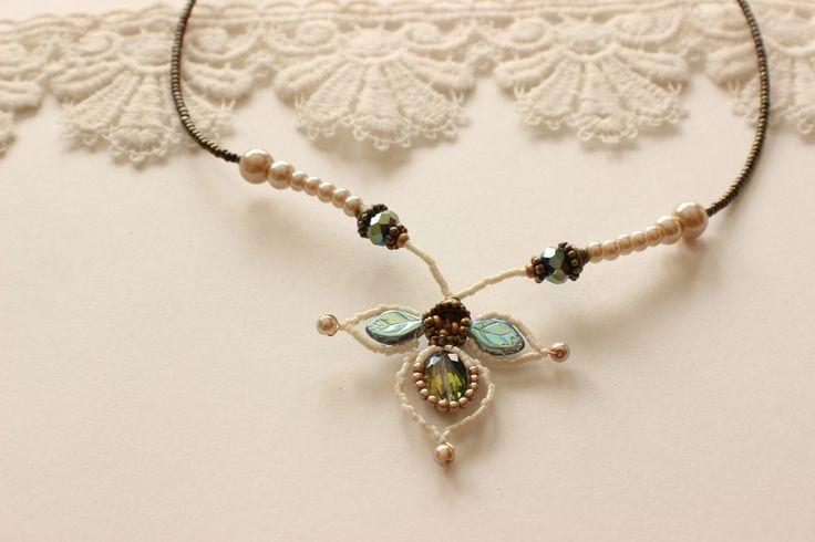 Ivory Peacock Necklace - Wedding Jewelry, Bridal Jewelry, Bridesmaid Jewelry, Mother of the Bride Jewelry www.robingoodfellowdesigns.com