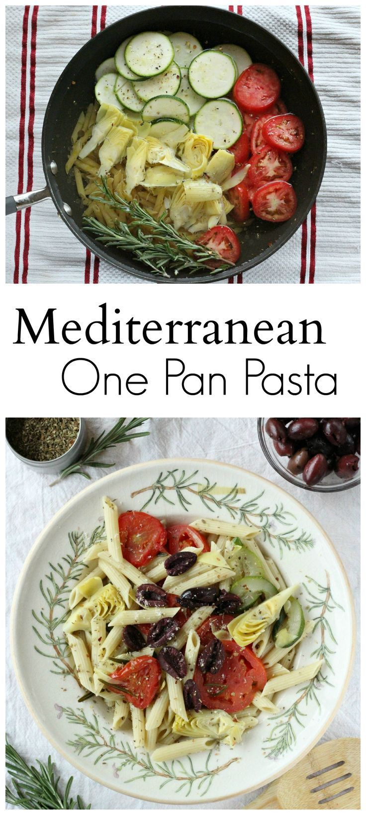 Msg 4 21+ Mediterranean one pan pasta dish, featuring zucchini, tomatoes, artichokes, and Barilla Pronto Pasta. #HolidayPairings #ad
