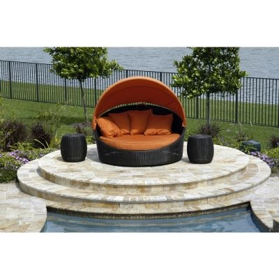 hallo wicker outdoor daybed with canopy
