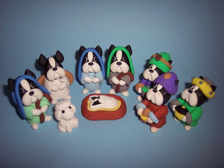 Boston Terrier Nativity Scene by thepinkkoala on Etsy