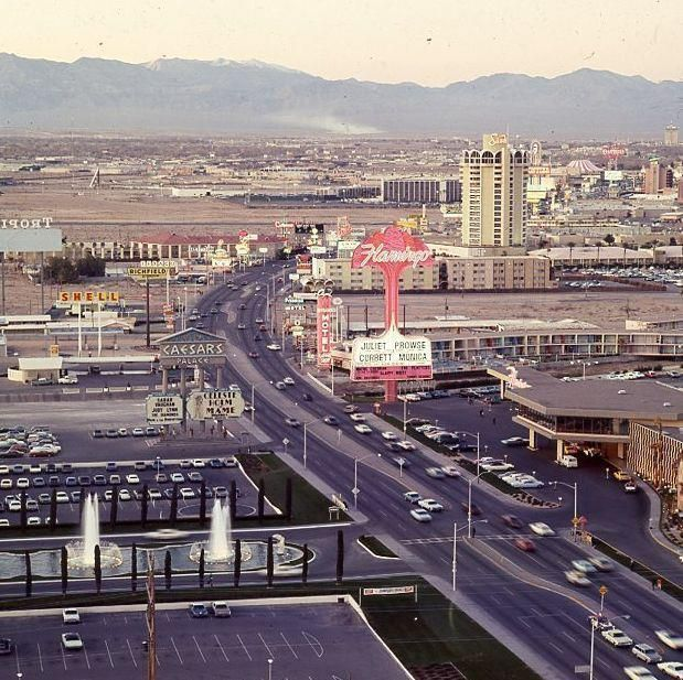 Caesars Flamingo and Sands in 1969 from a Dunes Window.  You can get chips from these casinos at www.all-chips.com