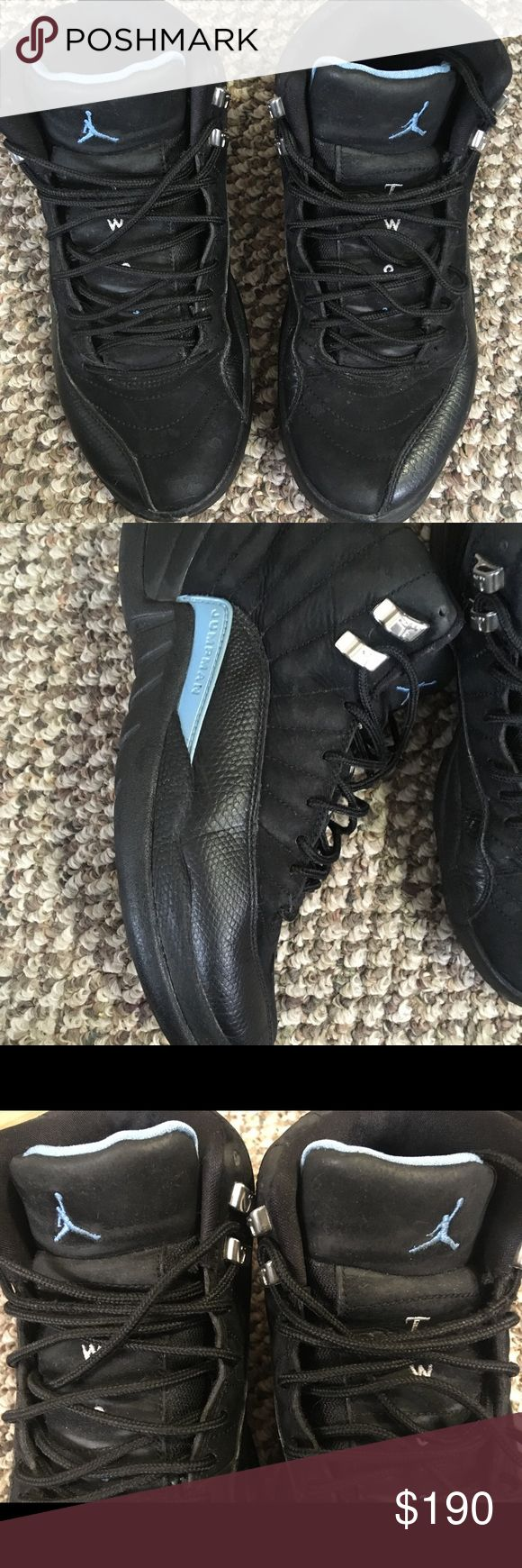 Jordan Retro 12s Retro 12s. Black suede and baby blue. Shoes are still in great condition with minimal visible wear. 100% authentic with all original parts. Please see all the pictures closely. The price range on these right now is anywhere up to $500 depending on the condition. We're open to why and all offers, Jordan Shoes Sneakers