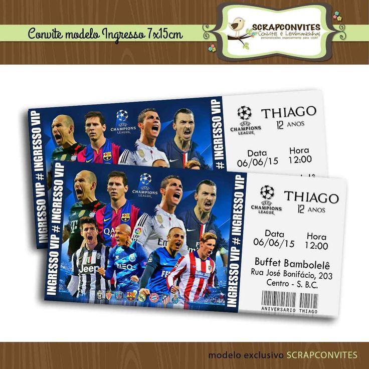 Convite Ingresso Champions League   SCRAPCONVITES   Elo7