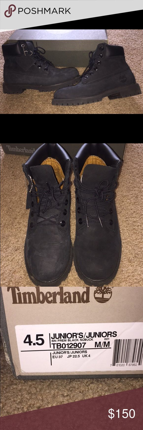 Black timberland boots Great condition, worn only a few times, 4.5 junior size fits size 6-6.5 women's Timberland Shoes
