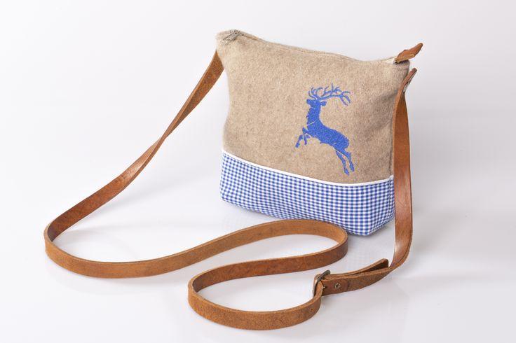 Trachtentasche Fini; Wollfilz, 100% Baumwolle und echtes Leder