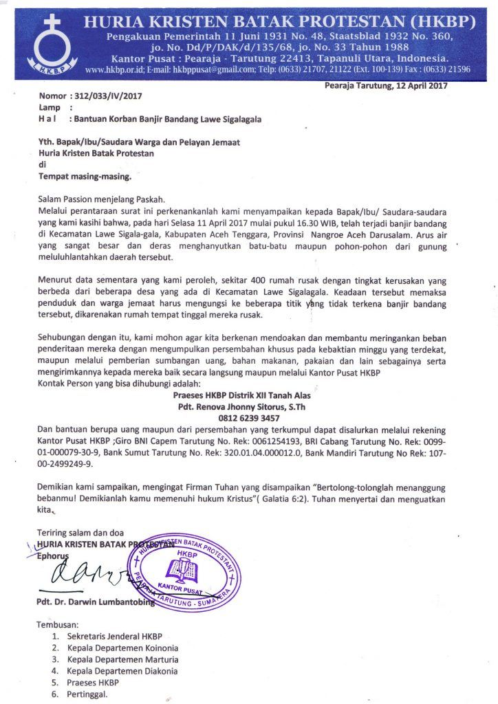 PENGUMUMAN BANTUAN KORBAN BANJIR BANDANG LAWE SIGALAGALA | Huria Kristen Batak Protestan
