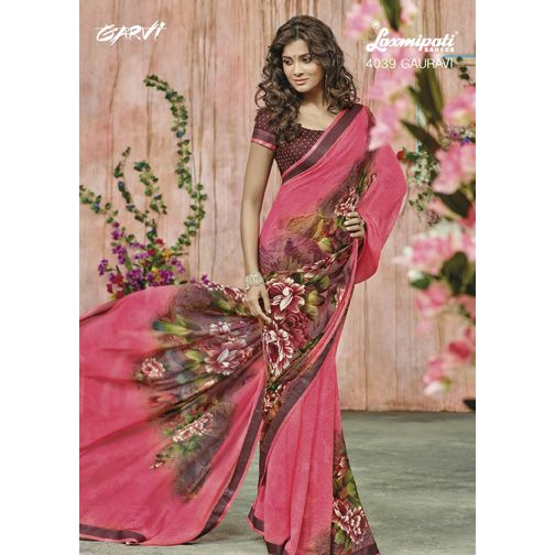 Are you looking for Georgette ‪#‎Saree‬ with gajari colour in India? ‪#‎Laxmipatisarees‬ offers Georgette Saree in gajari colour with Satin Lace border along with an un-stitched, Pashmina blouse in Brown. E-mail : info@laxmipati.com Mobile no : (+91) 93760 14032 (Call or Whatsapp)