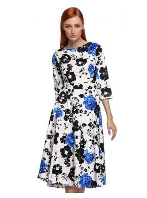 ACEVOG Mavi Şık Bayanlar Bayan O-Boyun 3/4 Kol Tam Boy Çiçekli Çıkıyor Elbiseler