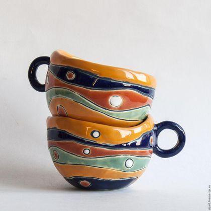 """Ceramic pots / Кружки и чашки ручной работы. Ярмарка Мастеров - ручная работа. Купить Комплект чашек """"Шафран"""". Handmade. Желтый, шафран"""
