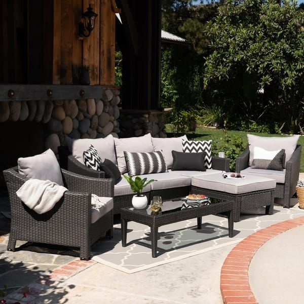 Antibes Outdoor 5 Seater L Shaped Sofa Set With Cushions By Christopher Knight Home With Images Outdoor Lounge