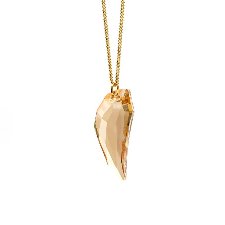 Pegasus Pendant (Golden Shadow) - luxe, statement piece featuring large pegasus shape genuine Swarovski crystal pendant in gorgeous buttery shade of golden shadow. Hung on a long 30 inch gold plated brass curb chain.