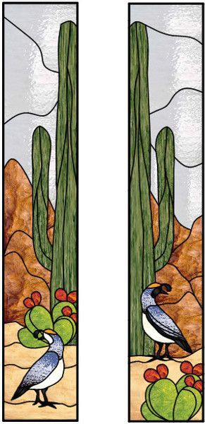Vertical Stained Glass Window With Desert Scene