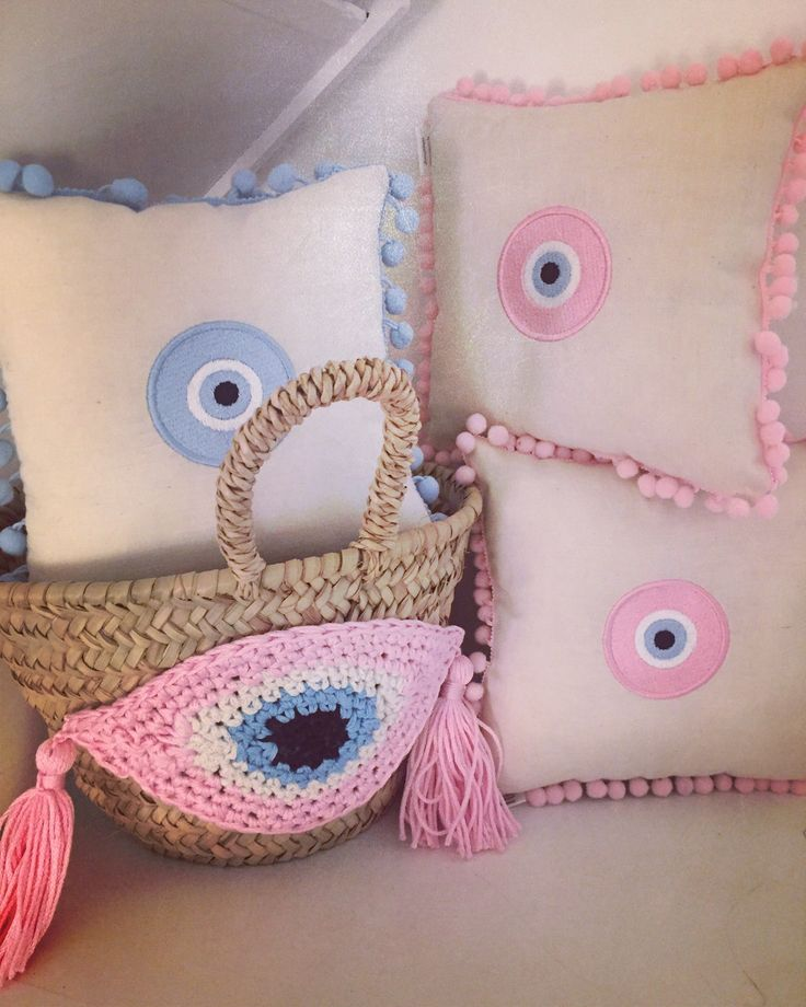 evileye pompon pillows for babies & our fylaxto straw basket! exclusively at www.cottonprince.gr