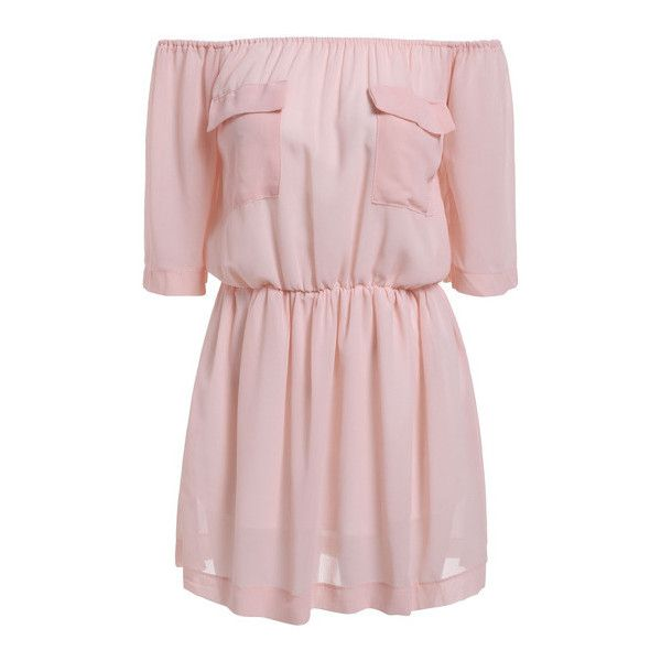 SheIn(sheinside) Pink Off the Shoulder Pockets Loose Dress ($14) ❤ liked on Polyvore featuring dresses, pink, off the shoulder mini dress, pocket dress, pleated dress, off shoulder dress and loose fitting dresses