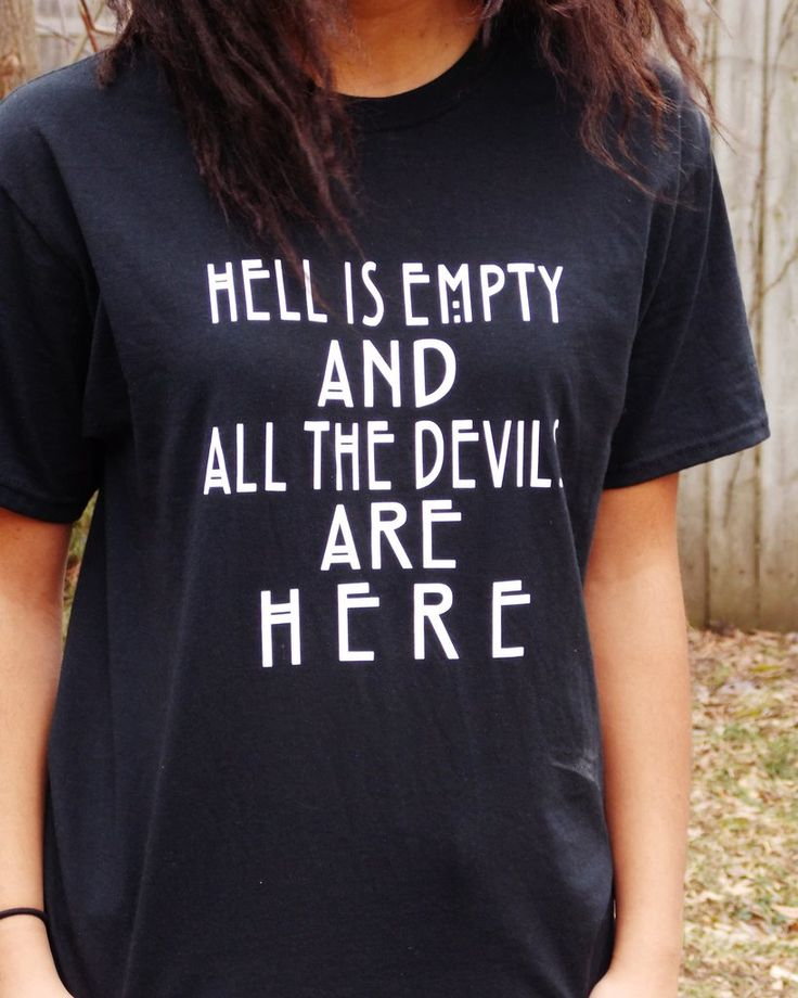 Shakespeare Hell Is Empty Quote T-Shirt. The Tempest. Unisex Sizing.