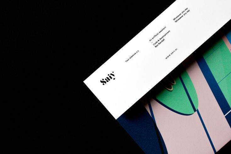 """New beautiful minimal graphic identity including abrand book for the Artificial Assistant framework Saiy, pronounced: """"Say"""". Saiy is the brainchild of Developer & Founder Ben Randall. Designed byStudio Ahremark – A design studio based in Gothenburg, Sweden."""