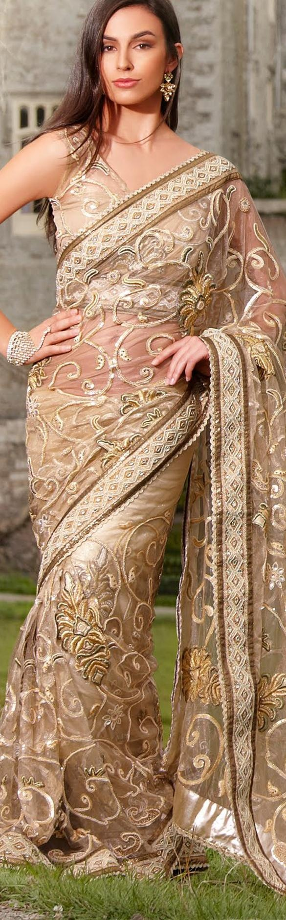 $231.58 Beige Net Latest Fashion Saree 16755 With Unstitched Blouse