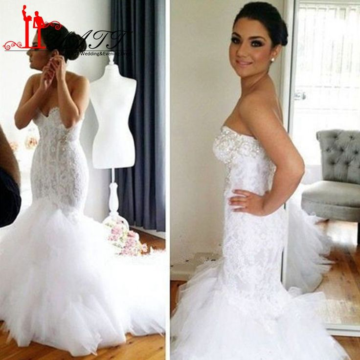 Elegant Sweetheart Tulle Mermaid Wedding Dresses 2017 Luxury Lace Appliqued Sequined Wedding Gowns White Bridal Gown LY081