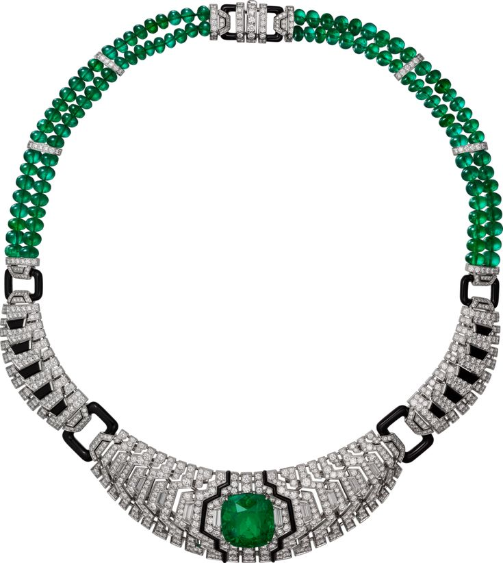 CARTIER. Necklace - platinum, one 14.70-carat cushion-cut emerald from Colombia, emerald beads, onyx, taper diamonds, brilliant-cut diamonds.