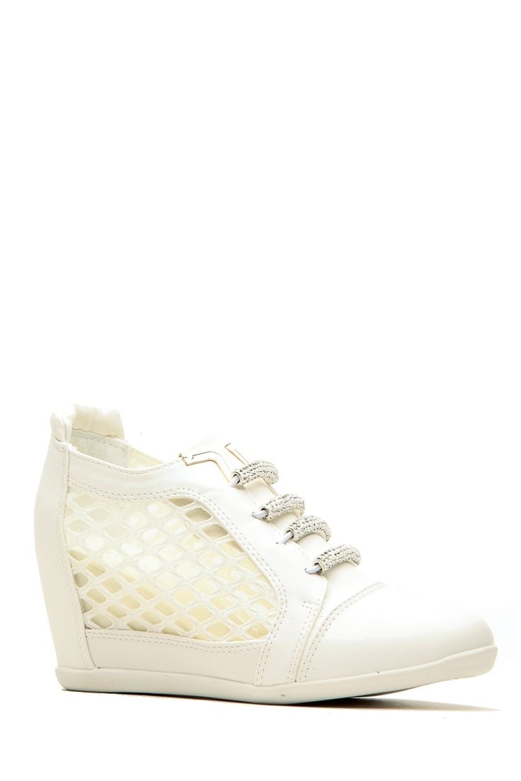 White Faux Leather Low Top Sneaker Wedges @ Cicihot Women Sneakers-Fashion Sneakers,Casual Sneakers,Wedge Sneakers,Platform Sneakers,Hidden Wedge Sneakers,High Top Sneakers,Lace Up Sneakers,Studded Sneakers,Buckle Sneakers
