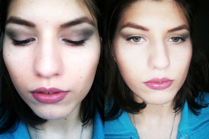 Day makeup grey and pink lips/ Machiaj de zi ochi gri  si buze roz